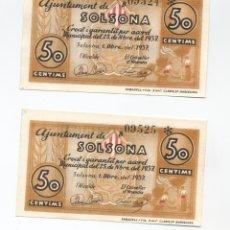 Billetes locales: BILLETE LOCAL DE LA GUERRA CIVIL AJUNTAMENT DE SOLSONA PAREJA CORRELATIVA (SC).. Lote 107560803