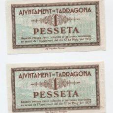 Billetes locales: 2 BILLETES LOCAL DE LA GUERRA CIVIL 1 PESETA -1937 - AYUNTAMIENTO DE TARRAGONA (SC). VER NUMERACIÓN. Lote 107561919
