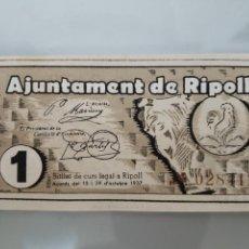 Billetes locales: BILLETE LOCAL 1 PESETA 1937 RIPOLL S/C CON APRESTO GUERRA CIVIL. Lote 108027526