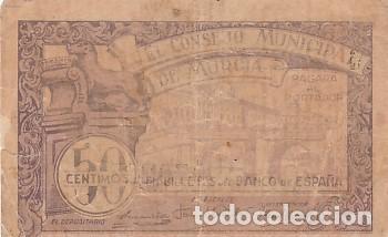 EL CONSEJO MUNICIPAL DE LORCA-50 CENTIMOS (Numismática - Notafilia - Billetes Locales)