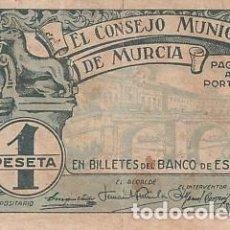 Billetes locales: EL CONSEJO MUNICIPAL DE MURCIA- 1 PESETA. Lote 108889755