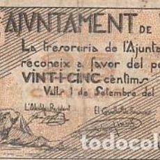 Billetes locales: AJUNTAMENT DE VALLS- 25 CENTIMOS-1937. Lote 108890047