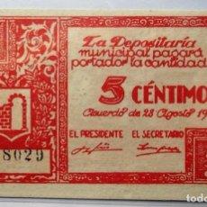 Billetes locales: GRAUS (HUESCA). BILLETE DE 5 CTS. DE 1937. EBC. . Lote 109172767