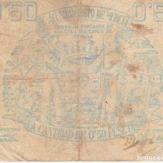 Billetes locales: BILLETE DE 50 CENTIMOS DEL CONSEJO MUNICIPAL DE MURCIA DEL AÑO 1937 . Lote 109489143