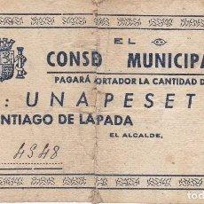 Billetes locales: BILLETE DE 1 PESETA DEL CONSEJO MUNICIPAL DE SANTIAGO DE LA ESPADA DEL AÑO 1937 (JAEN) MUY RARO. Lote 109541423