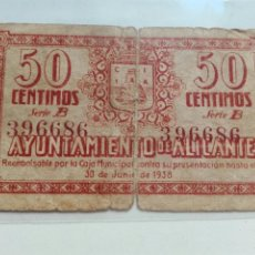 Billetes locales: BILLETE LOCAL AYUNTAMIENTO DE ALICANTE JUNIO 1938 50CENTIMOSBC. Lote 110095872