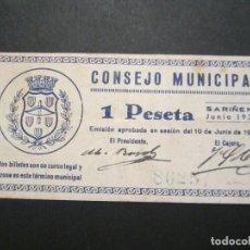 Billetes locales: 1 PESETA DE SARIÑENA (HUESCA) EXCELENTE CONSERVACIÓN. Lote 110156071