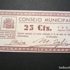 Billetes locales: 25 CÉNTIMOS DE FONZ (HUESCA) EXCELENTE CONSERVACIÓN MUY RARO. Lote 110156115