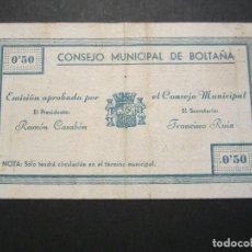 Billetes locales: 50 CÉNTIMOS DE BOLTAÑA (HUESCA) EXCELENTE CONSERVACIÓN RARO. Lote 110156299