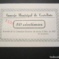 Billetes locales: 50 CÉNTIMOS DE CASTELLOTE (TERUEL) EXCELENTE CONSERVACIÓN RARO. Lote 110156431