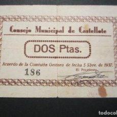 Billetes locales: 2 PESETAS DE CASTELLOTE (TERUEL) EXCELENTE CONSERVACIÓN RARO. Lote 110156475