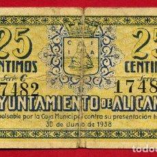 Billetes locales: BILLETE LOCAL, GUERRA CIVIL , 25 CENTIMOS ALICICANTE 1937 ,MBC- ,ORIGINAL , T482. Lote 110185479