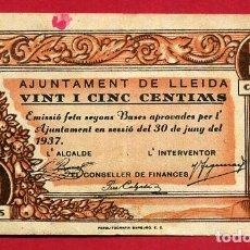 Billetes locales: BILLETE LOCAL, GUERRA CIVIL , 25 CENTIMOS LLEIDA 1937 ,MBC ,ORIGINAL , T482. Lote 110185687