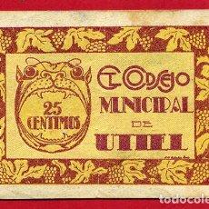 Billetes locales: BILLETE LOCAL, GUERRA CIVIL , 25 CENTIMOS UTIEL , MBC+ ,ORIGINAL , T158. Lote 110186767