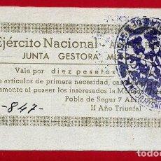 Billetes locales: BILLETE LOCAL, GUERRA CIVIL , VALE 10 PESETAS POBLA DE SEGUR LERIDA , EBC ,ORIGINAL , T847. Lote 110189099