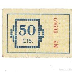 Billetes locales: BILLETE LOCAL. GUERRA CIVIL. AJUNTAMENT DE TORROELLA DE MONTGRÍ. 50 C Nº 06969. Lote 110248211