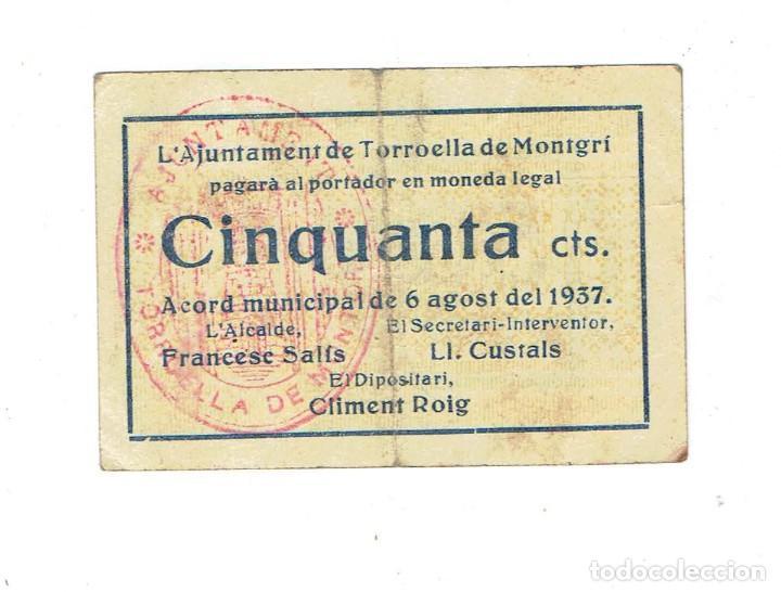 Billetes locales: Billete Local. Guerra Civil. Ajuntament de Torroella de Montgrí. 50 c nº 06969 - Foto 2 - 110248211