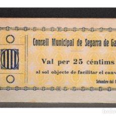 Billetes locales: BILLETE 25 CENTIMS CONSELL MUNICIPAL SEGARRA DE GAIA 1937 SERIE B. Lote 110763687