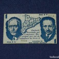 Billetes locales: (M-ALB1) BILLETE AJUNTAMENT DE MALGRAT -MALGRAT DE MAR 1 PESSETA, SEGONS ACORD DE 26 DE MAIG 1937. Lote 111326163