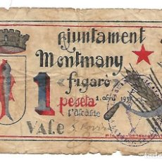 Billetes locales: MONTMANY 1 PESETA 1 DE ABRIL DE 1937. GUERRA CIVIL. Lote 114147100