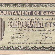 Billetes locales: BILLETE DE 50 CENTIMOS DEL AJUNTAMENT DE BAGA DEL AÑO 1937 . Lote 112463143