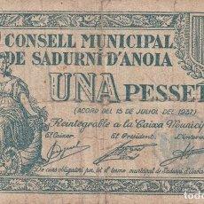 Billetes locales: BILLETE DE 1 PESETA DEL CONSELL MUNICIPAL DE SADURNI D'ANOIA DEL AÑO 1937 . Lote 112891639