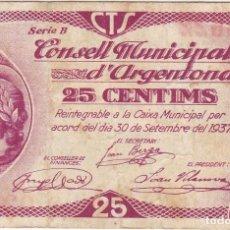 Billetes locales: BILLETE DE 25 CENTIMOS DEL CONSELL MUNICIPAL DE ARGENTONA DEL AÑO 1937 . Lote 112891827
