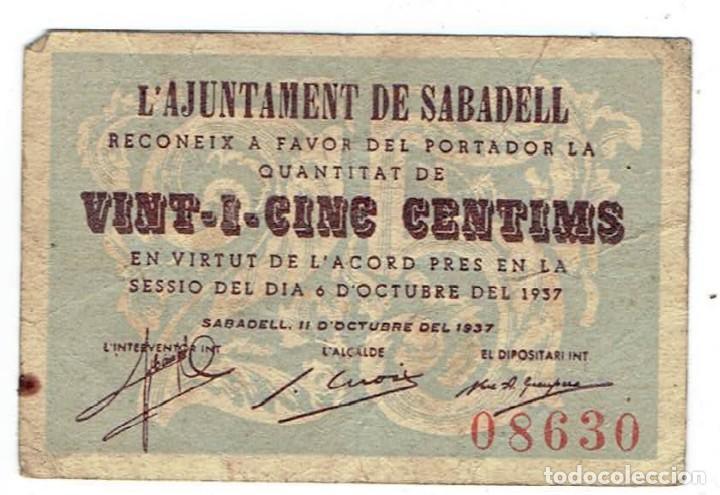 BILLETE LOCAL - AJUNTAMENT DE SABADELL - 25 CÉNTIMOS - GUERRA CIVIL - (Numismática - Notafilia - Billetes Locales)