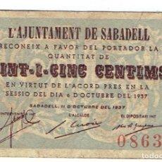 Billetes locales: BILLETE LOCAL - AJUNTAMENT DE SABADELL - 25 CÉNTIMOS - GUERRA CIVIL -. Lote 112950371