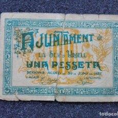 Billetes locales: 1 PESETA , LA SEU D´URGELL. JUNIO 1937. Lote 113417203