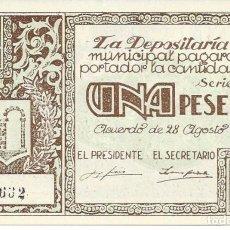 Billetes locales: BILLETE LOCAL GUERRA CIVIL GRAUS. AUTENTICO. 1 PESETA. PLANCHA. Lote 113566051