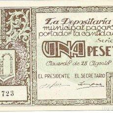 Billetes locales: BILLETE LOCAL GUERRA CIVIL GRAUS. AUTENTICO.PLANCHA 1 PESETA. Lote 113566539
