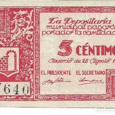 Billetes locales: BILLETE LOCAL GUERRA CIVIL GRAUS. AUTENTICO.EBC. 5 CENTIMOS. Lote 113568239
