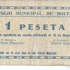 Billetes locales: BILLETE LOCAL GUERRA CIVIL. BOLTAÑA ( HUESCA). 1 PESETA. Lote 113685039