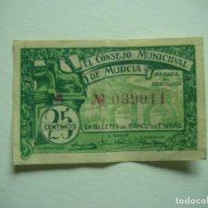 Billetes locales: BILLETE 25 CTS 1937 REPUBLICA ESPAÑOLA CONSEJO MUNICIPAL MURCIA. Lote 114241699