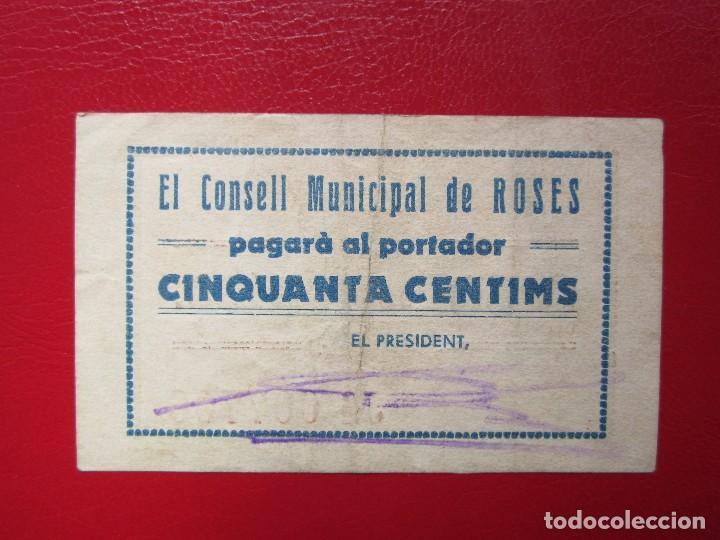 Billetes locales: BILLETE LOCAL ROSES 50 CENTIMOS 1937 GUERRA CIVIL - Foto 1 - 114260187