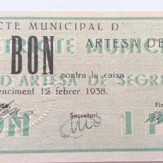 Billetes locales: C.M. ARTESA DE SEGRE 1 PESETA. Lote 114459279