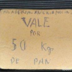 Billetes locales: VALE DE PAN PANADERIA ANTONIO MOLINS. ALMATRET. LERIDA, LLEIDA. 50 KG DE PAN.. Lote 115086615