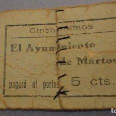 Billetes locales: ANTIGUO BILLETE LOCAL.AYUNTAMIENTO DE MARTOS.JAEN .5 CENTIMOS.GUERRA CIVIL?. Lote 115132971