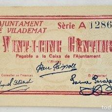 Billetes locales: F 1231 BILLETE 25 CENTIMOS AJUNTAMENT DE VILADEMAT- T-3209 - E. Lote 115626851