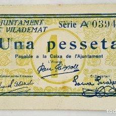 Billetes locales: F 1185 BILLETE 1 PESETAS AJUNTAMENT DE VILADEMAT- T-3208 - E. Lote 115626895