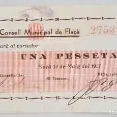 Billetes locales: F 1193 BILLETE 1 PESETAS CONSEJO MUNICIPAL DE FLAÇA EBC- R - T1184. Lote 115627851