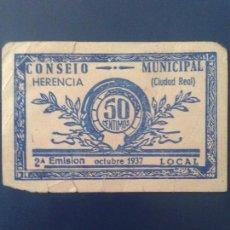 Billetes locales: HERENCIA 50 CÉNTIMOS. Lote 118680343