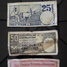Billetes locales: 3 BILLETES LOCALES Y ANTIGUOS DE LA GUERRA CIVIL , DE GUADALAJARA Y MANZANARES 1937. Lote 118690731