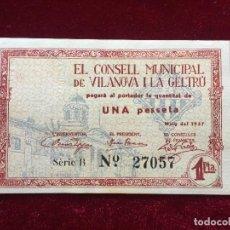 Billetes locales: 1 PESETA 1937 VILANOVA I LA GELTRU SC. Lote 118711939