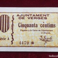 Billetes locales: 50 CENTIMOS 1937 VERGES SC. Lote 118712079