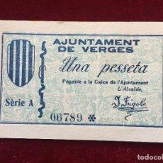 Billetes locales: 1 PESETA 1937 VERGES SC. Lote 118712139