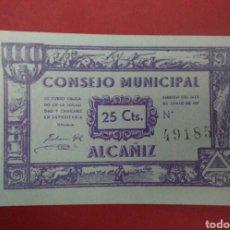 Billetes locales: BILLETE DEL CONSEJO MUNICIPAL DE ALCAÑIZ. GUERRA CIVIL. 25 CÉNTIMOS.. Lote 118735482