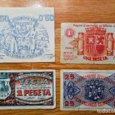 Billetes locales: BILLETES LOCALES GUERRA CIVIL 1937 MURCIA CARTAGENA JUMILLA YECLA. Lote 119144187