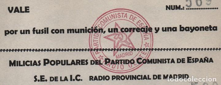Billetes locales: MADRID,-MILICIAS POPULARES DEL P.C.E. VALE,POR PAN, UN TALEGO Y PROVISIONES PARA UNA SEMANA,VER FOTO - Foto 2 - 119184295